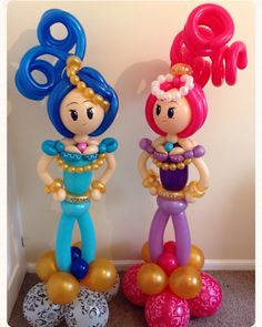 Shimmer and Shine balloon decoration. Created by balloonblooms.co.uk