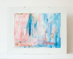 Multi Color Pink & Blue Gold Leaf Watercolor & Gouache Abstract Fine Art by MadelynNicoleStudio