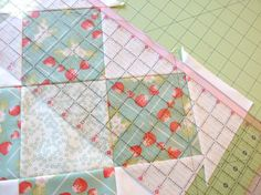 Granny Square no waste quilt block using charm squares so it is larger.  Tutorial