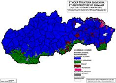 Ethnic map of Slovakia, 2011 Prehistory, Historical Maps, Social Science, Eastern Europe, Family History, Planer, Something To Do, Religion, Concept Art