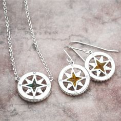 Compass Drop Earrings and Compass Necklace by Dune Jewelry Compass Necklace, Dune, Nautical, Drop Earrings, Jewelry, Navy Marine, Jewellery Making, Jewelery, Drop Earring