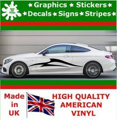 "10"" High Car Side Stripes Graphic Decal Vinyl Sticker Van Auto Rally Race F1_111"