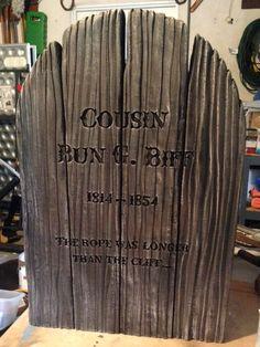 Fantastic faux wood (foam) tombstone by Halloween Forum member!