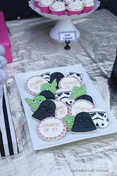 Girly Star Wars Birthday Party Ideas: Stormtrooper, Darth Vader, and Yoda cookies