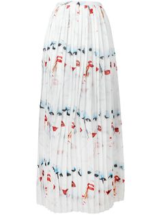JEREMY SCOTT Face Print Pleated Skirt. #jeremyscott #cloth #skirt