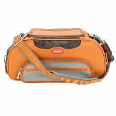 LOVE this modern airline approved dog carrier available in 6 cool colors. Miles likes the orange one. We both love the large pocket for treats and toys!