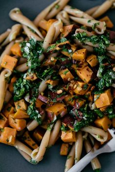 Chickpea Casarecce Pasta with Roasted Sweet Potatoes and Chimichurri Broccoli Recipes, Veg Recipes, Lunch Recipes, Pasta Recipes, Whole Food Recipes, Vegetarian Recipes, Dinner Recipes, Healthy Recipes, Healthy Dinners