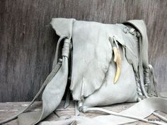 Rustic Cross Body Bag in Light Grey Elk Leather by by stacyleigh, $115.00