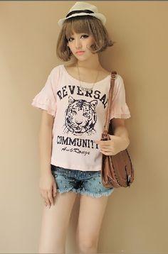 Cute Tiger Printing Fungus Sleeve T-shirt Pink