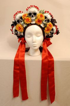 Day of the Dead Headdress Made to Order by sewhard on Etsy