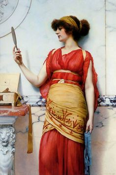 """""""Reflections"""" by John William Godward. Dates: 1893 Artist age: Approximately 32 years old. Dimensions: Unknown Medium: Painting - oil on canvas. John William Godward, Lawrence Alma Tadema, Carpeaux, Classic Paintings, Pre Raphaelite, Victorian Art, Traditional Paintings, Classical Art, Female Art"""