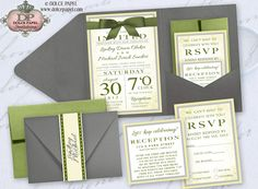 Sage Green, Yellow and Gray Gorgeous Belly Band Pocket Wedding Invitations Set 5x7. $72.50, via Etsy.
