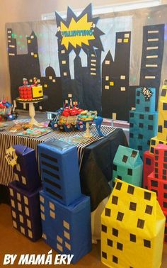 Awesome decorations at a superhero birthday party! See more party ideas at CatchMyParty.com!