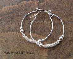 Silver Hoops Creole Earrings Wire Wrapped by MadeByMyLeftHand