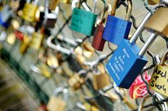 Love locks - bridge in Paris where you bring a padlock inscribed with your names, lock it up, and throw the key in the Seine River. Your love will last as long as it takes someone to find the key, unlock YOUR padlock, and remove it from the bridge. So sweet :)