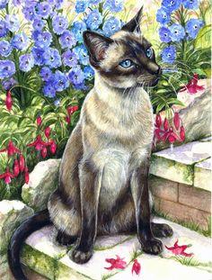 Siamese cat in the Garden 2-Sided Garden Flag
