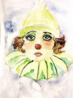 Sad Clown by Gabriela Dinca Le Clown, Clowning Around, Clowns, Original Artwork, Disney Characters, Fictional Characters, Sad, Disney Princess, Artist