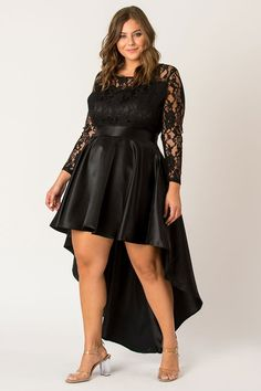 Plus Size Womens Black Floral Lace high -low Maxi Dress | Plus Size Cocktail Dresses | Plus Size Evening Dresses | sizes 2-42w and custom-sized