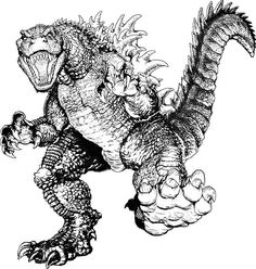 Terrifying Godzilla Coloring Pages : Color Luna Online Coloring, Adult Coloring, Godzilla Party, Giant Monster Movies, Monster Art, Coloring Book Pages, Doodle Art, Concept Art, Creatures