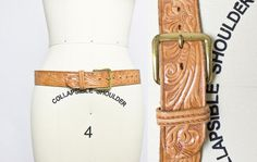 Vintage 1950s Belt  Tooled Light Brown by dejavintageboutique