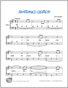 Amazing Grace is a well-known Christian hymn by Englishman John Newton and which first appeared in print in Newton's Olney Hymns Newton's lyrics have become a favorite for… Amazing Grace Sheet Music, Easy Piano Sheet Music, Piano Music, Piano Songs, Music Sheets, Free Printable Sheet Music, Download Sheet Music, Free Sheet Music, Drum Lessons