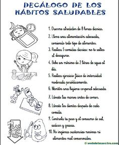 Hábitos saludables - Recursos educativos y material didáctico para niños/as de Infantil y Primaria. Spanish Classroom Activities, Science Classroom, Teaching Spanish, Nutrition Education, Physical Education, Writing Traits, Health Class, Pediatric Nursing, English Vocabulary