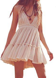 e20b54ec3e60 R.Vivimos Women Summer Halter Deep V Neck Sexy Patchwork Mini Short Dresses  Small Beige