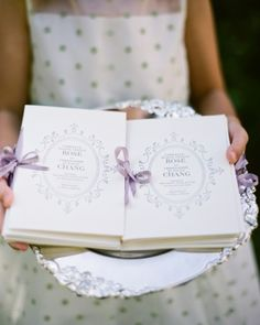 Classic cream letterpressed ceremony programs were tied with delicate raw-silk purple ribbons to add a dash of color at Gabrielle and Chris's woodsy California wedding. Plum Wedding, Diy Wedding, Wedding Ceremony, Wedding Day, Wedding Decor, Elegant Wedding Programs, Spring Wedding, Garden Wedding, Wedding Colors