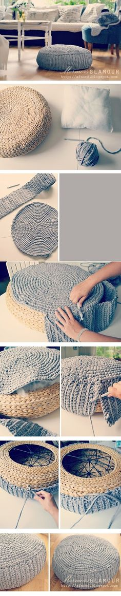 How to make a cover for your IKEA Alseda pouff. ༺✿Teresa Restegui Tutorial for Crochet, Knit. Diy Crochet And Knitting, Crochet Home, Crochet Crafts, Yarn Crafts, Crochet Projects, Free Crochet, Ikea Ikea, Crochet Designs, Crochet Patterns