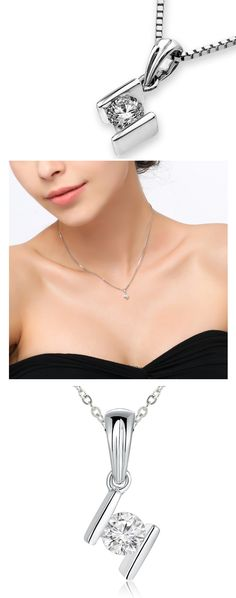 """18K/750 White Gold Bar Setting Solitaire Diamond Pendant W/925 Sterling Silver Chain 18"""" (0.14 carats, G-H color, good SI1-2 Clarity)  Be the first to review this product..."""