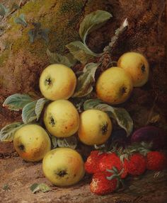 George Clare Apples and Strawberries Oil on Canvas European Paintings, Fruit Art, Counted Cross Stitch Patterns, Oil On Canvas, Pear, Strawberry, Apples, 19th Century, Flowers