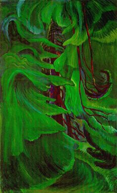 """Cedar"" By Emily Carr This forest looks magical to me. The trees look like they are dancing. Tom Thomson, Canadian Painters, Canadian Artists, Impressionist Paintings, Landscape Paintings, Landscapes, Emily Carr Paintings, Art Gallery, Vancouver"