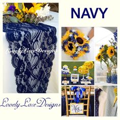 35ft NAVY WEDDINGS/Navy Lace Table Runner by LovelyLaceDesigns