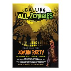 Calling All Zombies for A Halloween Zombie Party Card - birthday gifts party celebration custom gift ideas diy