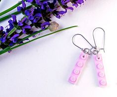 Light Pink LEGO® Earrings - Dangly Earrings - LEGO® Gifts for Adults - Ladies Gift Ideas - Cool Gift For Teen - Girl Gift Ideas ~ Geek gifts ~ Exclusively at http://BrickAndButton.Etsy.com