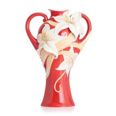 Franz Porcelain Collection Fragrant Lily Design Sculptured Porcelain Large Vase