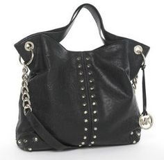 Michael Kors Astor Black Leather Handbag! My new handbag, but mine has gold hardware!!