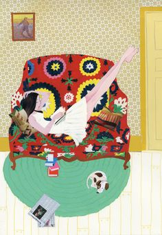 sofa Girl reading on a couch.Robert Wagt