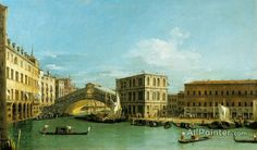 Giovanni Antonio Canal (called Canaletto),Venice:  The Rialto Bridge From The North oil painting reproductions for sale