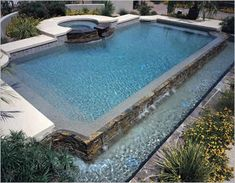 rectangle pool with round raised spa close to what ours will be - Rectangle Pool With Spa