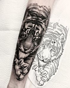 The new year has decided to take us by surprise and has released some magnificent body tattoos. These body tattoos are sensational. You will really enjoy these tattoos. Tiger Forearm Tattoo, Tiger Tattoo Sleeve, Lion Tattoo Sleeves, Tiger Tattoo Design, Forarm Tattoos, Forearm Sleeve Tattoos, Tattoo Design Drawings, Best Sleeve Tattoos, Tattoo Sleeve Designs