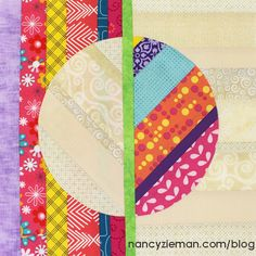 2016 Quilt Extravaganza—March Block of the Month NancyZieman_1This month, you'll learn how to create a contemporary quilt block, featuring semicircles machine appliquéd to the scrappy background fabrics. Use the Carefree Curves Template to create the shapes easily and without setting in any curved seams.I encourage you to use as many scraps from your stash as possible. I'm using bright and neutral fabrics in this quilt