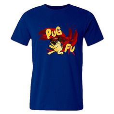 f0e96d17cd3 Amazon.com  Men Custom Pug Dog Fu Animal Sports Graphic Short Sleeve T Shirt  A  Clothing
