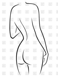 Outline of naked female body back view, 70425, download royalty-free vector clipart (EPS)
