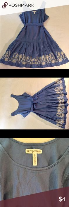 Aeropostale dress Sleeveless blue dress with belt and embroidered bottom. Two very small stains one on front and one on back (see pictures). Aeropostale Dresses