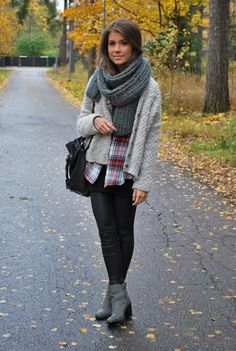 sweaters, scarves, and plaid