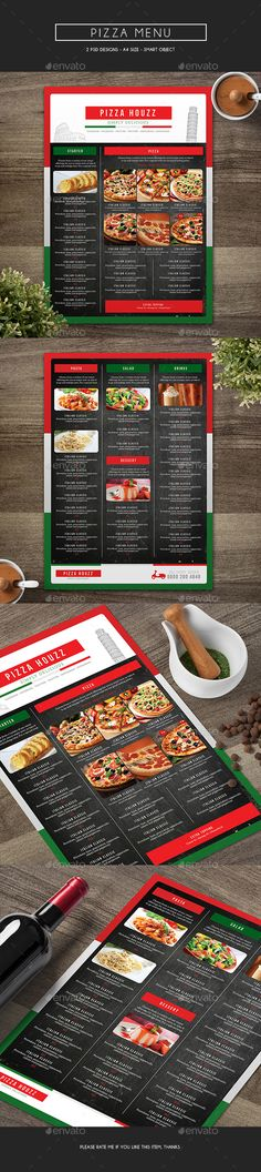 Pizza menu design A4 size and flyer layout template Restaurant - sample pizza menu template