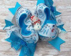 Muñeco de nieve Navidad azul arco del pelo, pinza de pelo de muñeco de nieve, Navidad pelo Clip