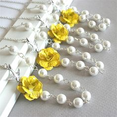 Yellow Flower necklace, Set of 4, Rose, Bird and pearls necklace, Wedding Jewelry, Bridesmaids Gift. $92.00, via Etsy.