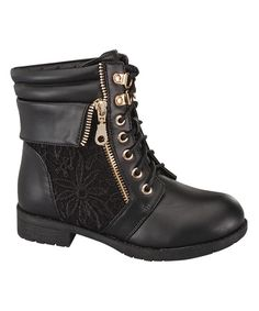 Look at this Link Black Crocheted Sevilla Boot on #zulily today!